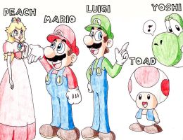 Mario And Friends by Agu-Fungus