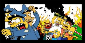 riot in springfield by zerocalcare