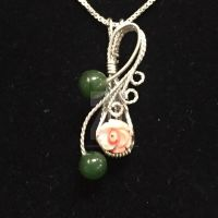 Coral and Jade Pendant by ClaireKincaid