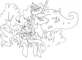 Birds and Bees, Twilight and Celestia sketch unfin by FoldawayWings