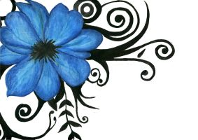 Blue Tribal Flower by LittleMissSquish