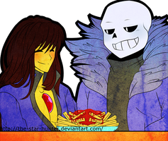 Sans and Frisk pic by The-Star-Hunter made for me by DeterminedToDrawUT