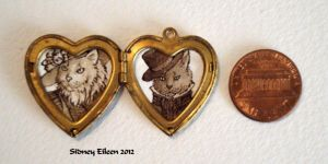 Mr. and Mrs. Cats in Heart Locket by sidneyeileen