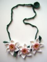 Crochet Pink Daffodil Necklace by meekssandygirl