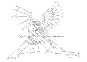 Aryana and Astrophel Lineart