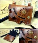 Steampunk Leather Belt Bag by izasartshop