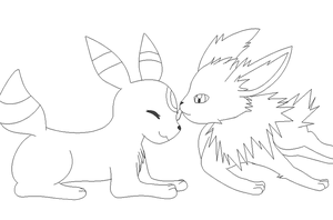 Umbreon and Jolteon lineart by michy123