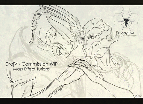 Turian Commission WIP Lines Crop by Lady-Owl