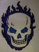 Flaming skull. by TheManThatLaughed