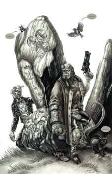 Hellboy 20th Anniversary - greyscale by grendeljd