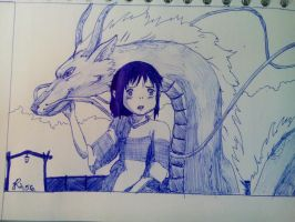 Spirited Away - Chihiro and Haku 2 by PurplePastelChalk