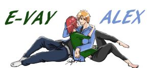 COMMISSION - E-vay and Alex by narusaku4everinlife