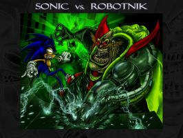 Sonic vs Robotnik Wallpaper by dcaarmus