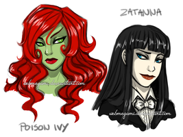 Chara design - Poison Ivy and Zatanna by Webmegami