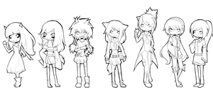 UTAU chibis -uncoloured- by Katfura