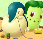 Playing balloon with Cyndaquil by selphy6