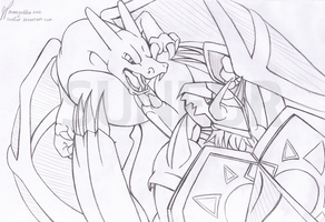 Charizard VS Wargreymon by Sunfur