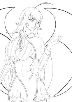 Rias Gremory _Lineart by Architeuthis-Senpai