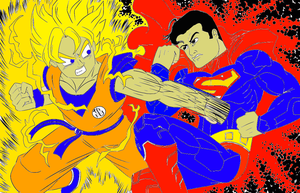 Superman vs Goku colored by R8TED-R
