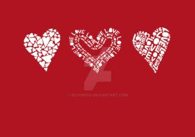 love hearts on red by ks-photo