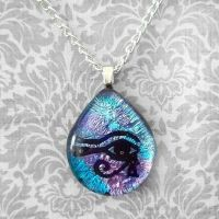 Eye of Horus Fused Glass by HoneyCatJewelry