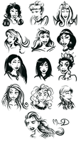 Disney Princesses by Kittengoo