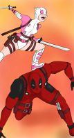 Gwenpool and deadpool  by VermillionUmbra