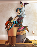 Happy Family! - Gorillaz redraw by Ashesfordayz