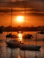 sailboats at sunset by Lianne-Issa