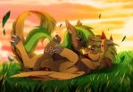 Tussle on the grass by Renciel
