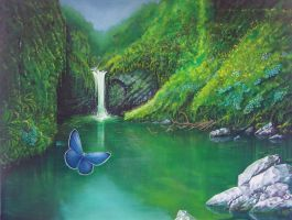 Butterfly waterfalls new by Sparkmachine