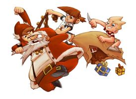 Pirate Club wrecking Santa by DerekHunter