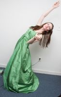 Green gown reaching by Sinned-angel-stock