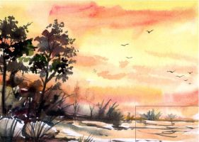 Watercolour Landscape by Vermillioned
