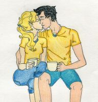 Percy and Annabeth: Morning Tea by GunslingersAura