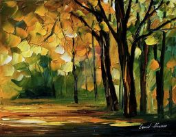 Morning forest by Leonid Afremov by Leonidafremov
