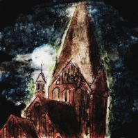 Oil pastel sketch #29: Moon behind the church by CpointSpoint