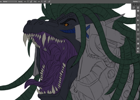 Gojira Lives WIP 2 close up by Ghostwalker2061