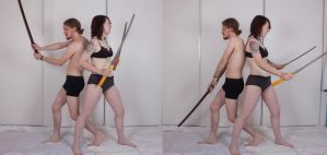 Duo Sword Stances (Back To Back) 02 by Null-Entity
