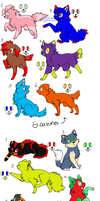 Feline and Canine adoptable sheet 1 by MotionlessGamer
