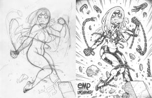 EMPOWERED UNCHAINED, as both rough + finished illo by AdamWarren
