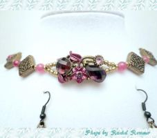 Purple, Pink and Bronze Choker Set by TheSortedBead