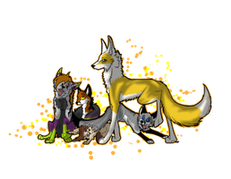 xmas gift: A lot of foxes eh? by Blackwolfpaw
