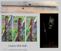 Custom Wolf Staff-walking stick by InKibus