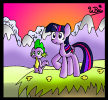 Twilight and Spike by NeonCabaret