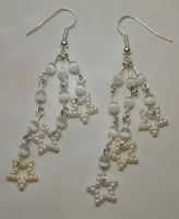 White 3 star chain earrings by bad-ass