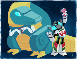 Transformers- Grimlock and Wheeljack by PaperBird