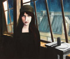 Stay, Jeanne Hebuterne in Modigliani's workshop by ABDportraits