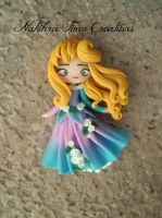 Aurora pink and blue dress polymer clay by Nakihra