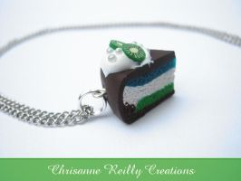 Kiwi Chocolate Cream Cake Necklace by magur